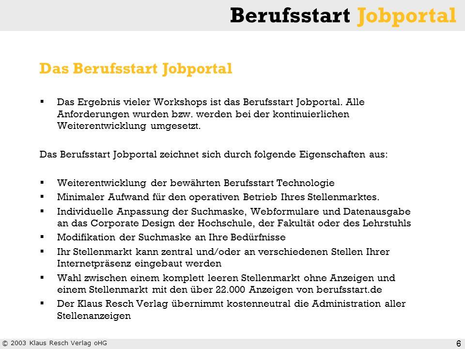 © 2003 Klaus Resch Verlag oHG Berufsstart Jobportal 6 Das Ergebnis vieler Workshops ist das Berufsstart Jobportal. Alle Anforderungen wurden bzw. werd