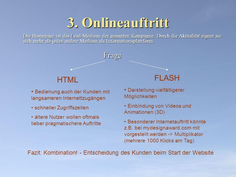 3. Onlineauftritt Die Homepage ist das Lead-Medium der gesamten Kampagne. Durch die Aktualität eignet sie sich mehr als jedes andere Medium als Inform