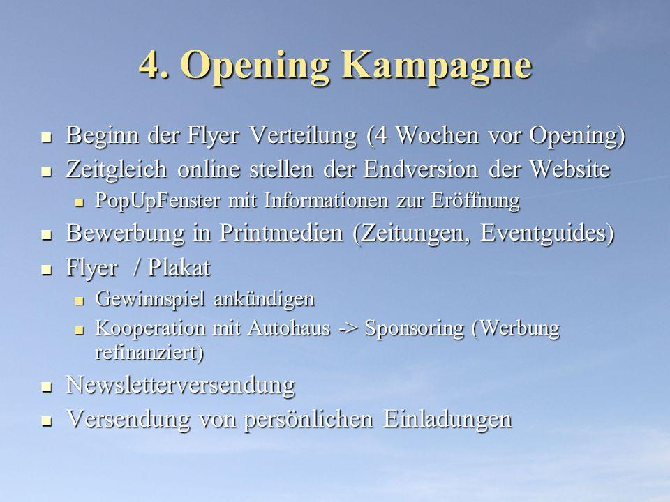 4. Opening Kampagne Beginn der Flyer Verteilung (4 Wochen vor Opening) Beginn der Flyer Verteilung (4 Wochen vor Opening) Zeitgleich online stellen de