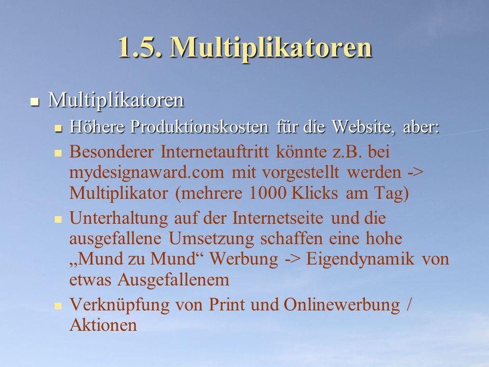 1.5. Multiplikatoren Multiplikatoren Multiplikatoren Höhere Produktionskosten für die Website, aber: Höhere Produktionskosten für die Website, aber: B