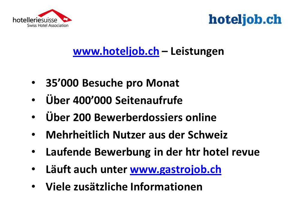 www.hoteljob.chwww.hoteljob.ch – Leistungen 35000 Besuche pro Monat Über 400000 Seitenaufrufe Über 200 Bewerberdossiers online Mehrheitlich Nutzer aus der Schweiz Laufende Bewerbung in der htr hotel revue Läuft auch unter www.gastrojob.chwww.gastrojob.ch Viele zusätzliche Informationen