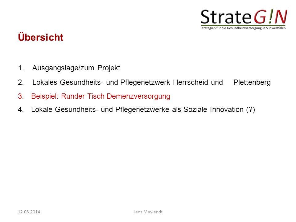 Übersicht 1.Ausgangslage/zum Projekt 2.Lokales Gesundheits- und Pflegenetzwerk Herrscheid und Plettenberg 3. Beispiel: Runder Tisch Demenzversorgung 4
