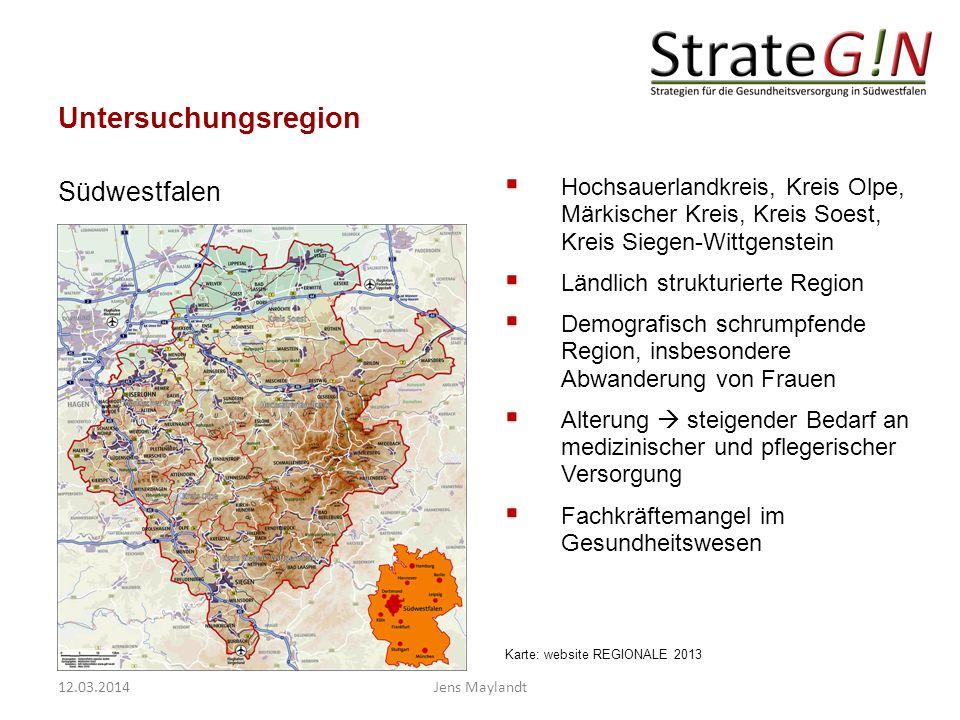Untersuchungsregion Hochsauerlandkreis, Kreis Olpe, Märkischer Kreis, Kreis Soest, Kreis Siegen-Wittgenstein Ländlich strukturierte Region Demografisc