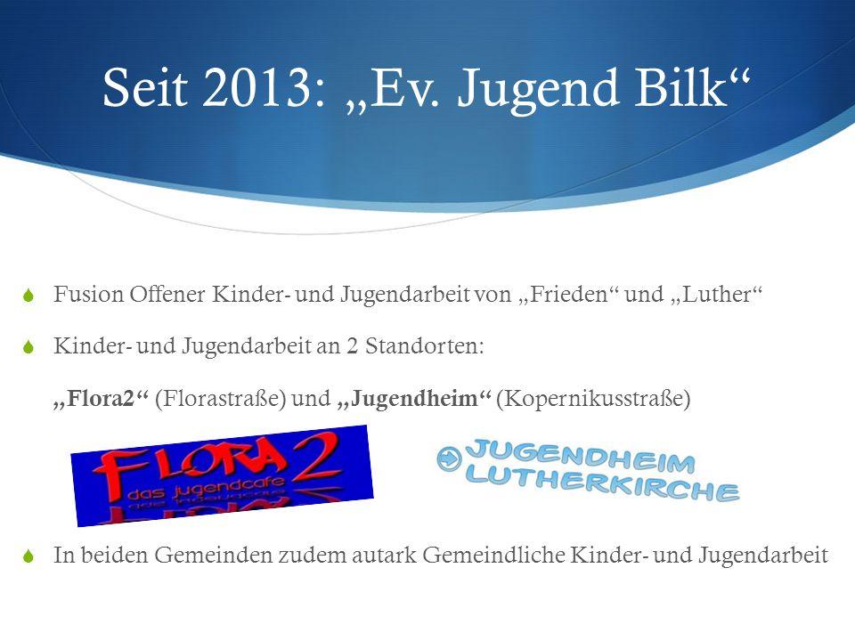 Seit 2013: Ev. Jugend Bilk Fusion Offener Kinder- und Jugendarbeit von Frieden und Luther Kinder- und Jugendarbeit an 2 Standorten: Flora2 (Florastraß