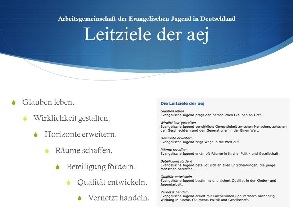 Arbeitsgemeinschaft der Evangelischen Jugend in Deutschland Leitziele der aej Glauben leben. Wirklichkeit gestalten. Horizonte erweitern. Räume schaff