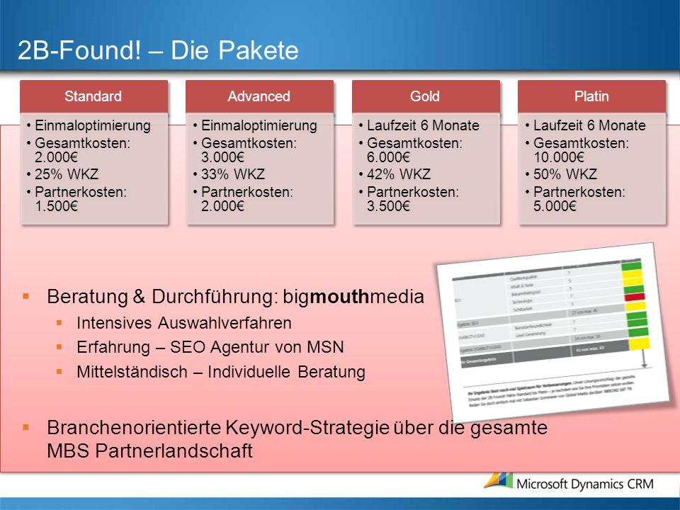 2B-Found! – Die Pakete Standard Einmaloptimierung Gesamtkosten: 2.000 25% WKZ Partnerkosten: 1.500 Advanced Einmaloptimierung Gesamtkosten: 3.000 33%