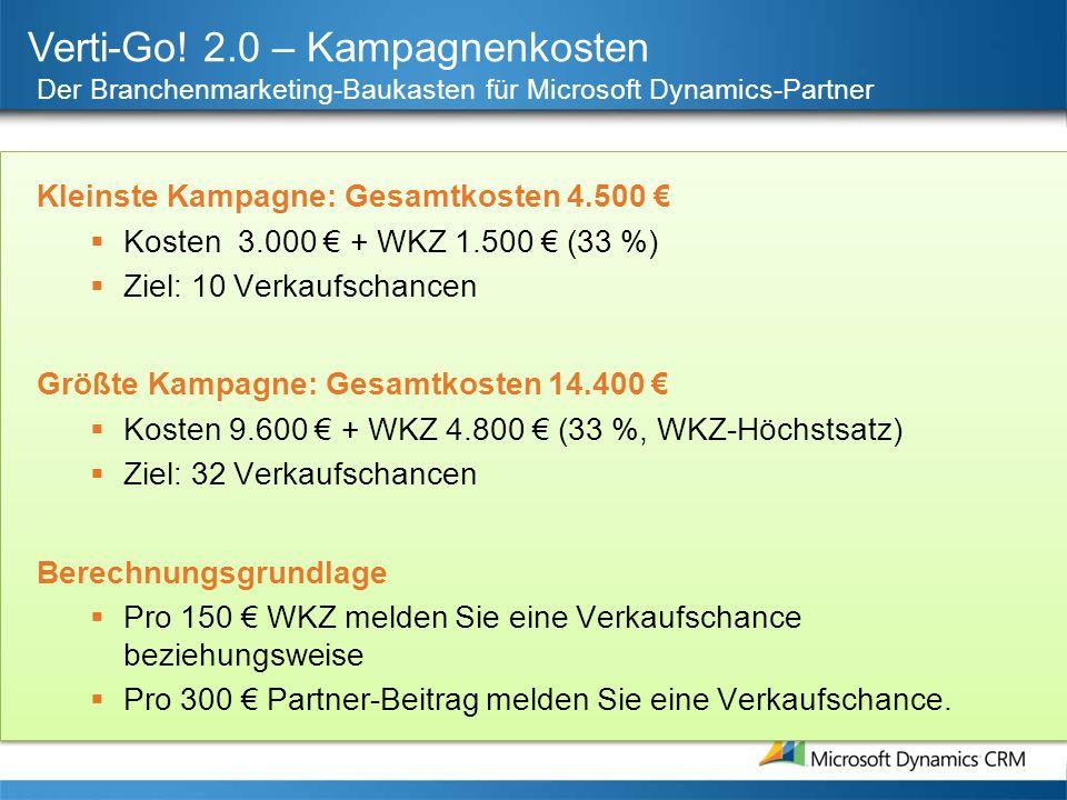Verti-Go! 2.0 – Kampagnenkosten Der Branchenmarketing-Baukasten für Microsoft Dynamics-Partner Kleinste Kampagne: Gesamtkosten 4.500 Kosten 3.000 + WK
