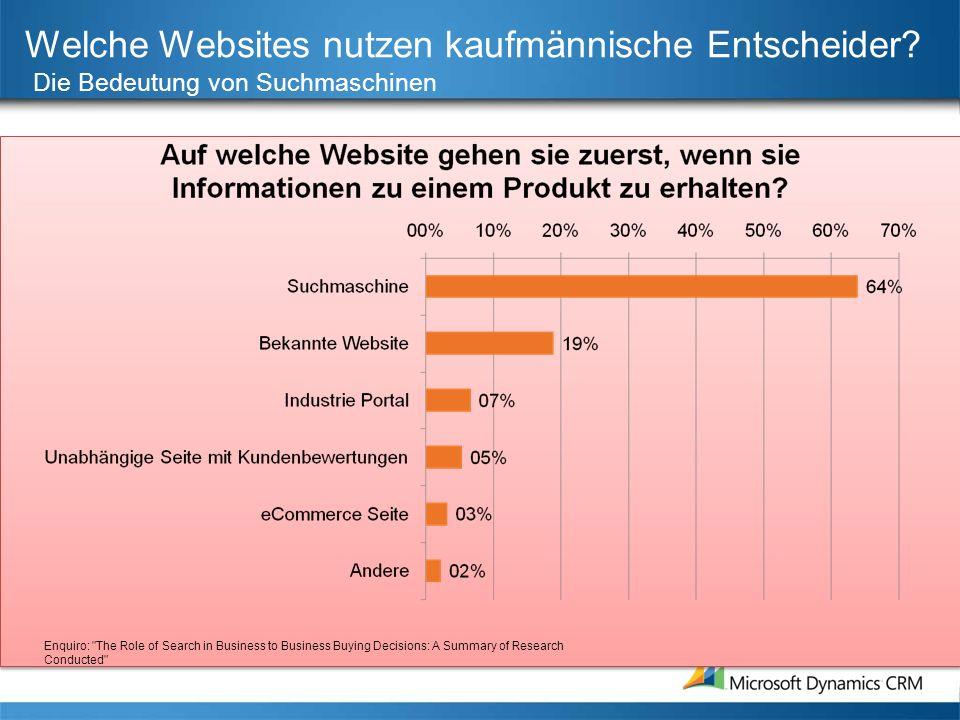 Welche Websites nutzen kaufmännische Entscheider? Die Bedeutung von Suchmaschinen Enquiro: