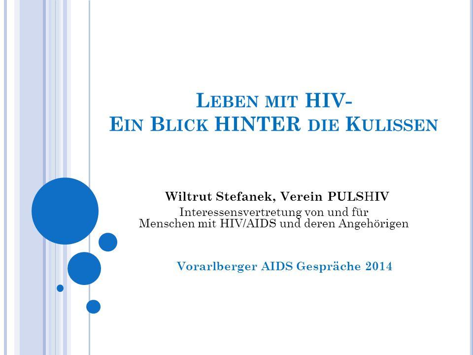 L EBEN MIT HIV- E IN B LICK HINTER DIE K ULISSEN Vorarlberger AIDS Gespräche 2014 Wiltrut Stefanek, Verein PULS H IV Interessensvertretung von und für