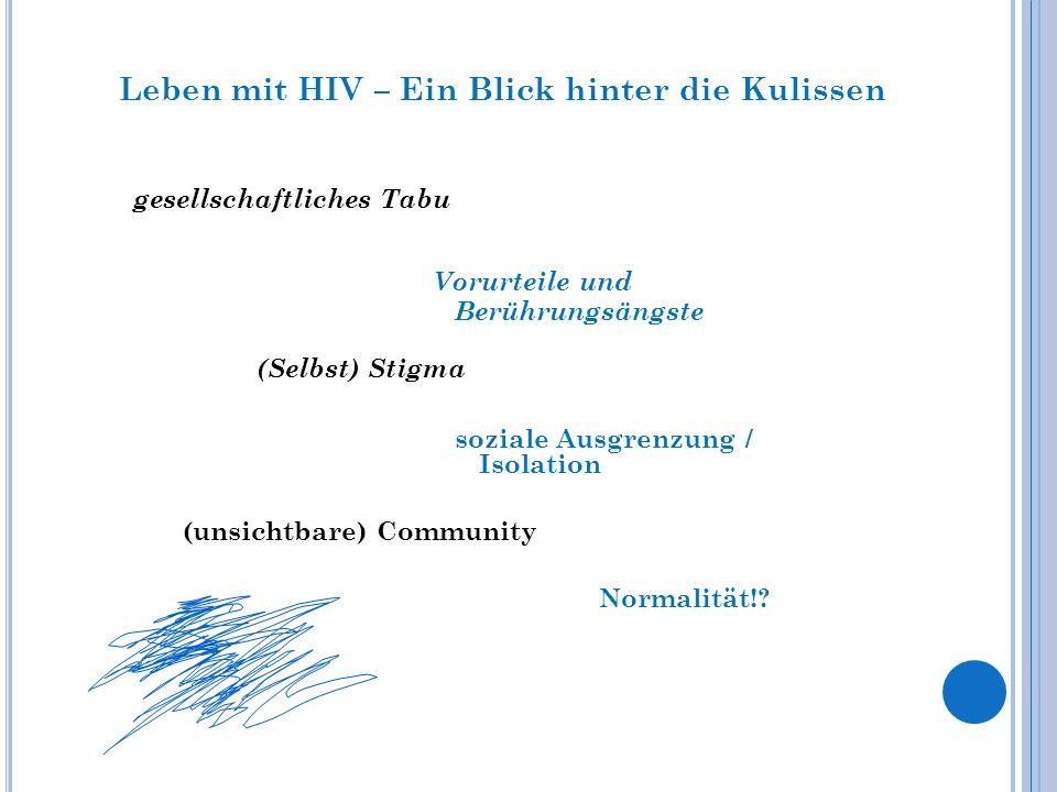 Leben mit HIV – Ein Blick hinter die Kulissen (unsichtbare) Community Vorurteile und Berührungsängste gesellschaftliches Tabu (Selbst) Stigma soziale