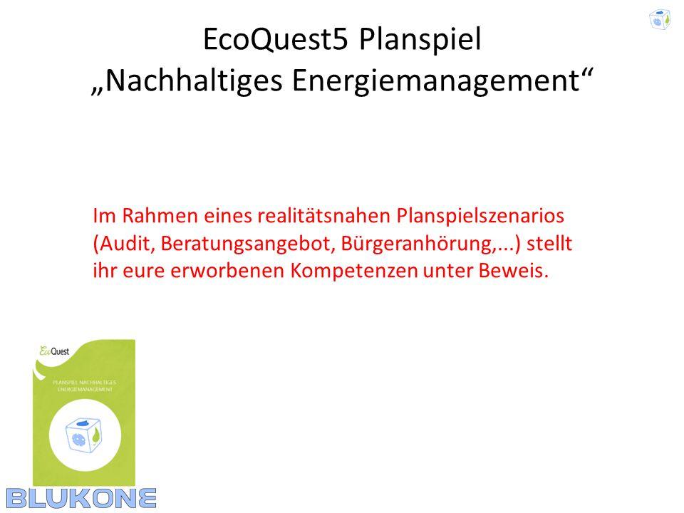 EcoQuest5 Planspiel Nachhaltiges Energiemanagement Im Rahmen eines realitätsnahen Planspielszenarios (Audit, Beratungsangebot, Bürgeranhörung,...) ste