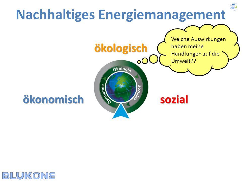 ökologisch Nachhaltiges Energiemanagement ökonomischsozial Was kosten meine Handlungen??