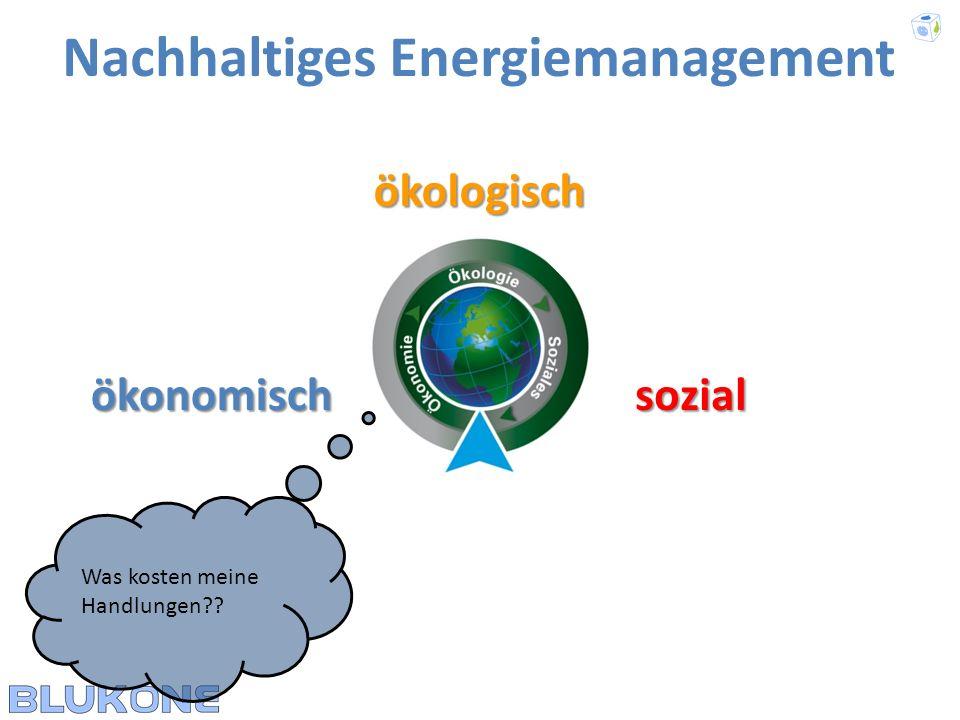 ökologisch Nachhaltiges Energiemanagement ökonomischsozial Welche Auswirkungen haben meine Handlungen auf die Menschen / die Gesellschaft??