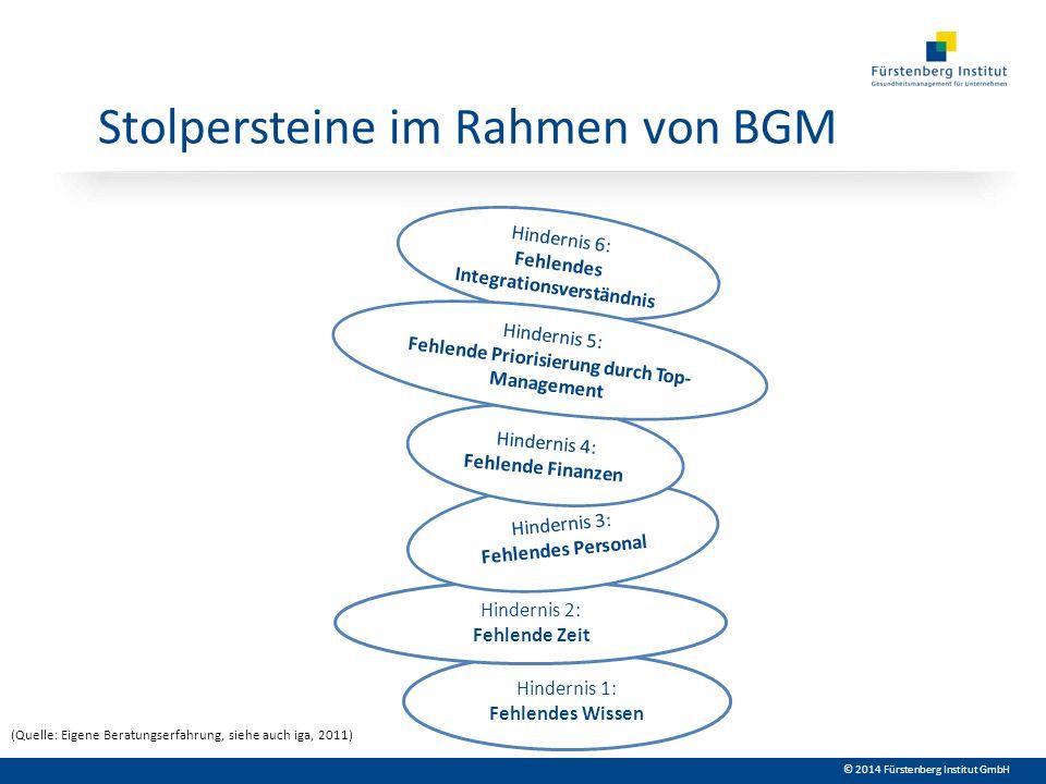 © 2014 Fürstenberg Institut GmbH Stolpersteine im Rahmen von BGM Hindernis 1: Fehlendes Wissen Hindernis 2: Fehlende Zeit Hindernis 3: Fehlendes Perso