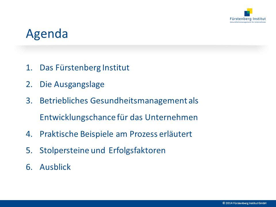 © 2014 Fürstenberg Institut GmbH Agenda 1.Das Fürstenberg Institut 2. Die Ausgangslage 3. Betriebliches Gesundheitsmanagement als Entwicklungschance f