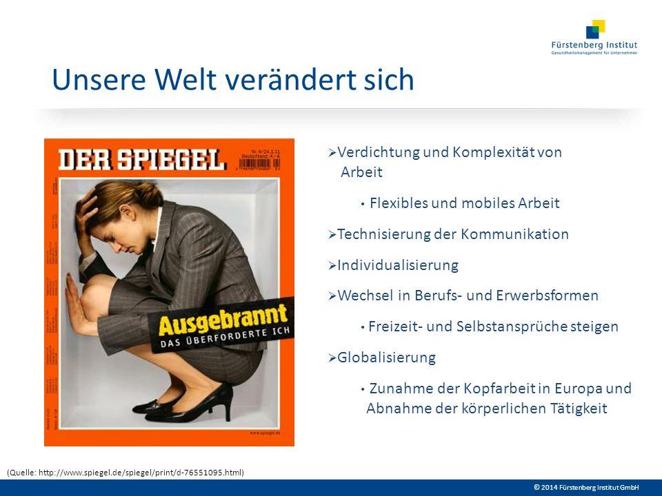 © 2014 Fürstenberg Institut GmbH Unsere Welt verändert sich Verdichtung und Komplexität von Arbeit Flexibles und mobiles Arbeit Technisierung der Komm