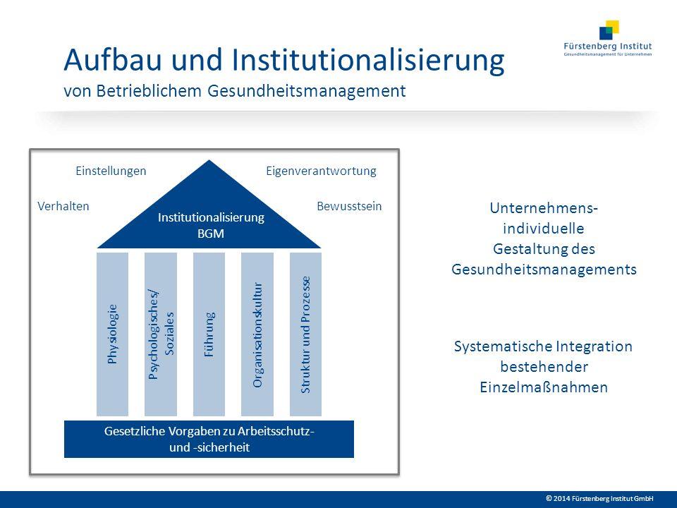 © 2014 Fürstenberg Institut GmbH Gesetzliche Vorgaben zu Arbeitsschutz- und -sicherheit Physiologie Psychologisches/ Soziales FührungOrganisationskult
