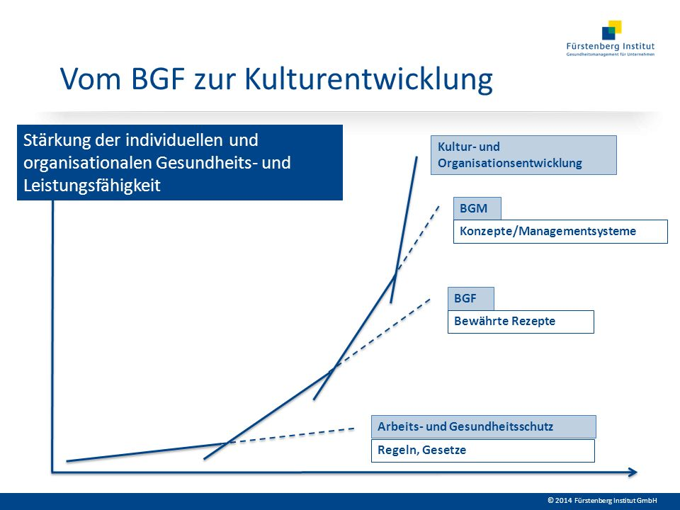 © 2014 Fürstenberg Institut GmbH Kulturentwicklung Organisationskultur meint gelebte Antworten auf Fragen der Leistungserbringung und der Lebensqualität in formellen und informellen Bereichen des Zusammenwirkens.