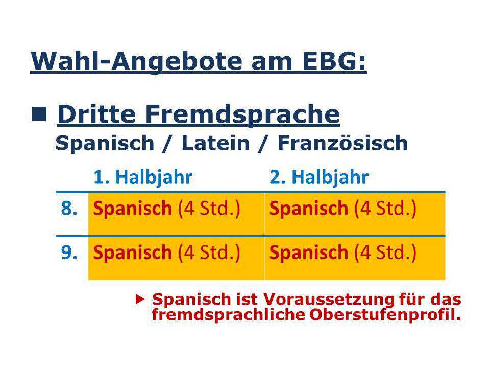 Wahl-Angebote am EBG: Dritte Fremdsprache Spanisch / Latein / Französisch Spanisch ist Voraussetzung für das fremdsprachliche Oberstufenprofil.