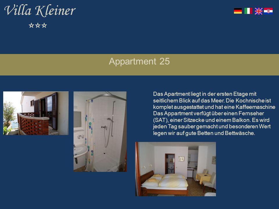Villa Kleiner *** Appartment 25 Das Apartment liegt in der ersten Etage mit seitlichem Blick auf das Meer.