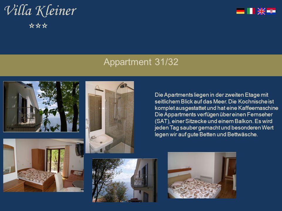 Villa Kleiner *** Appartment 31/32 Die Apartments liegen in der zweiten Etage mit seitlichem Blick auf das Meer.