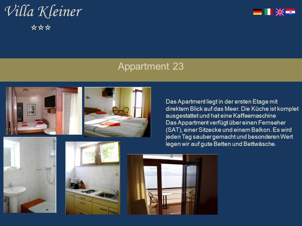 Villa Kleiner *** Appartment 23 Das Apartment liegt in der ersten Etage mit direktem Blick auf das Meer.
