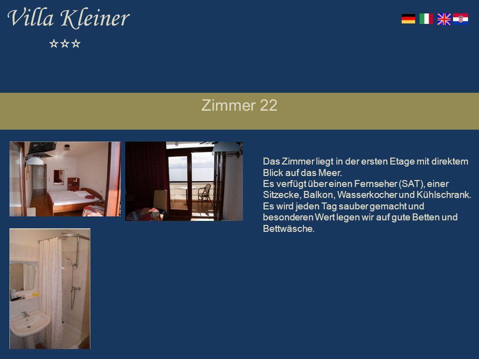 Villa Kleiner *** Zimmer 22 Das Zimmer liegt in der ersten Etage mit direktem Blick auf das Meer.