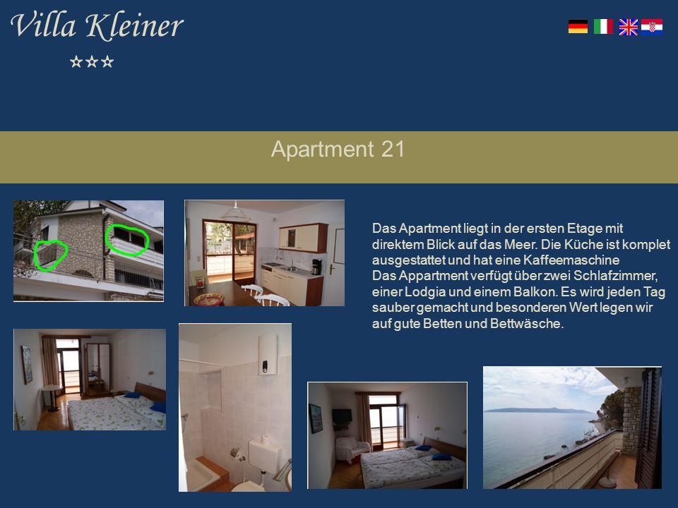 Villa Kleiner *** Apartment 21 Das Apartment liegt in der ersten Etage mit direktem Blick auf das Meer.