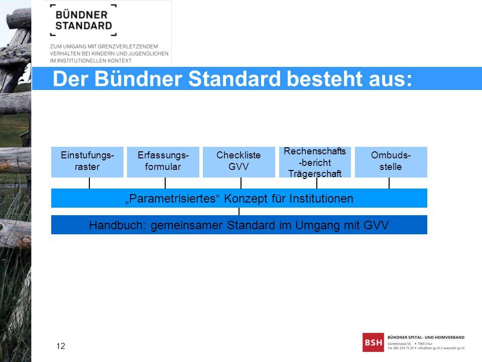 Der Bündner Standard besteht aus: 12 Handbuch: gemeinsamer Standard im Umgang mit GVV Parametrisiertes Konzept für Institutionen Einstufungs- raster E