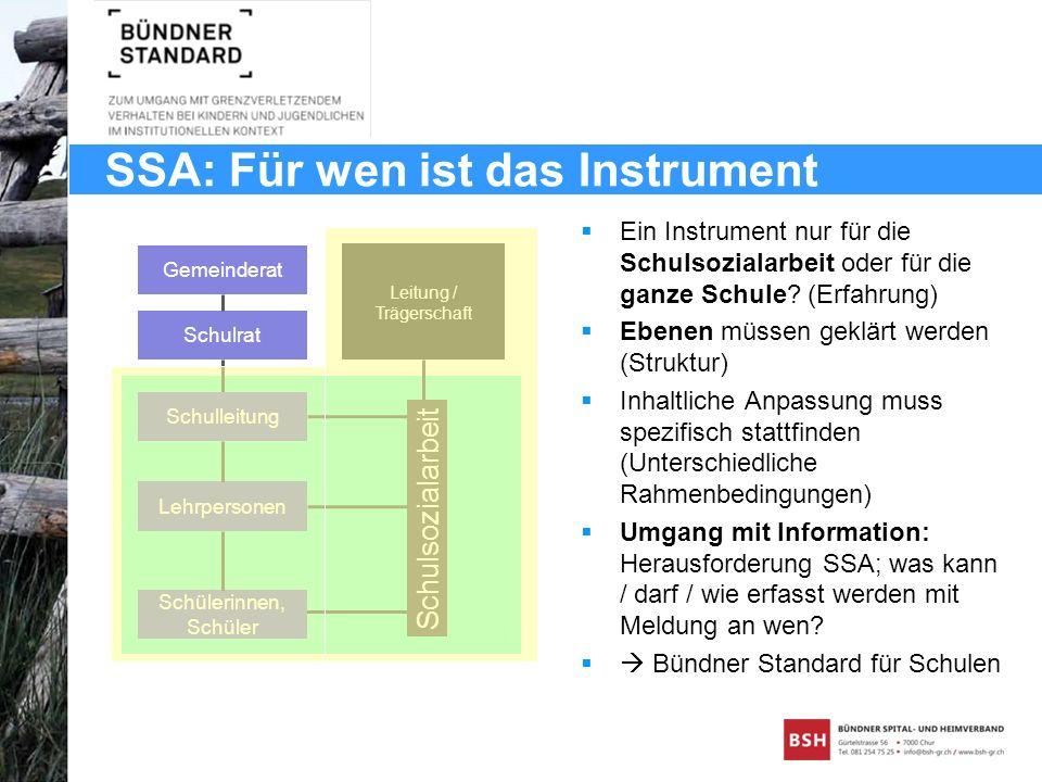 SSA: Für wen ist das Instrument Schulsozialarbeit Gemeinderat Schulrat Schulleitung Lehrpersonen Schülerinnen, Schüler Leitung / Trägerschaft Ein Inst