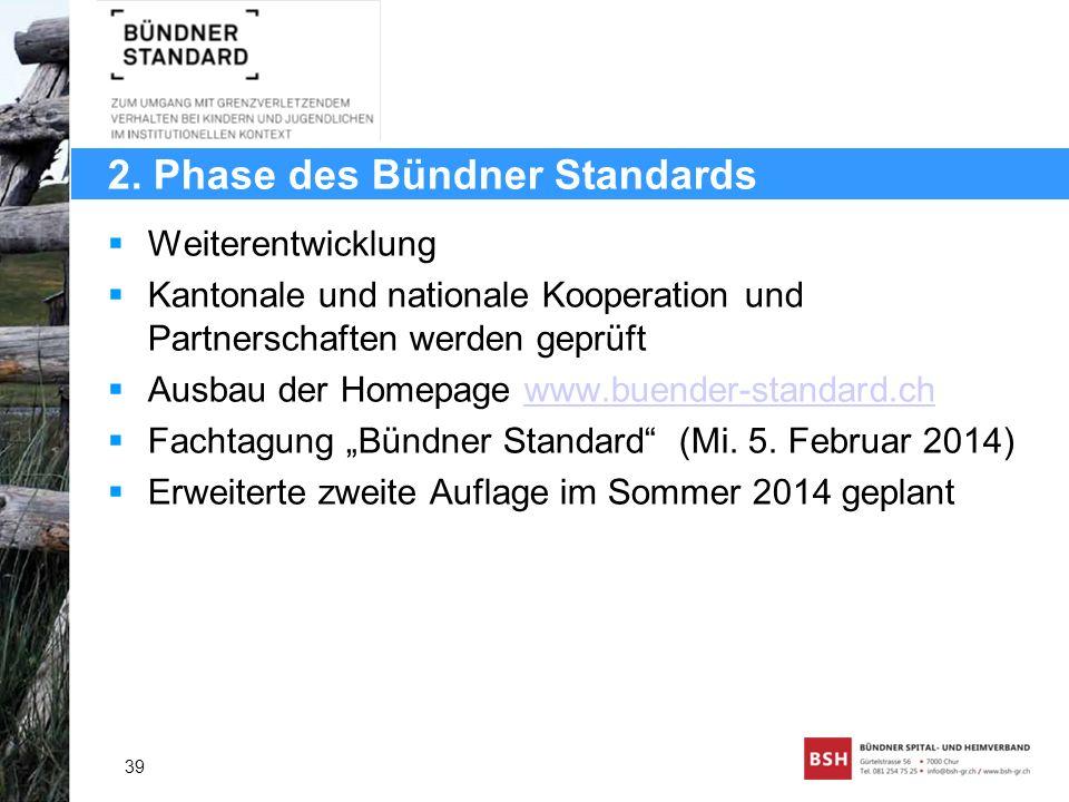 2. Phase des Bündner Standards Weiterentwicklung Kantonale und nationale Kooperation und Partnerschaften werden geprüft Ausbau der Homepage www.buende