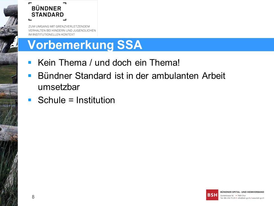Vorbemerkung SSA Kein Thema / und doch ein Thema! Bündner Standard ist in der ambulanten Arbeit umsetzbar Schule = Institution 8