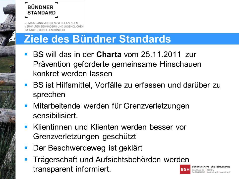 Ziele des Bündner Standards BS will das in der Charta vom 25.11.2011 zur Prävention geforderte gemeinsame Hinschauen konkret werden lassen BS ist Hilf