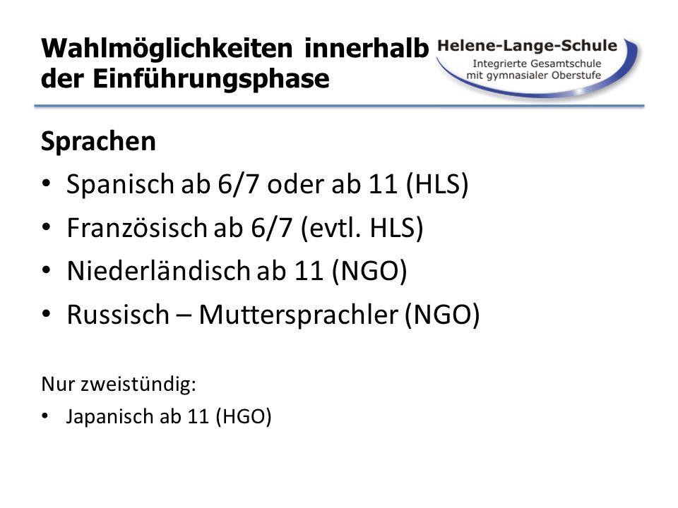 Wahlmöglichkeiten innerhalb der Einführungsphase Sprachen Spanisch ab 6/7 oder ab 11 (HLS) Französisch ab 6/7 (evtl. HLS) Niederländisch ab 11 (NGO) R