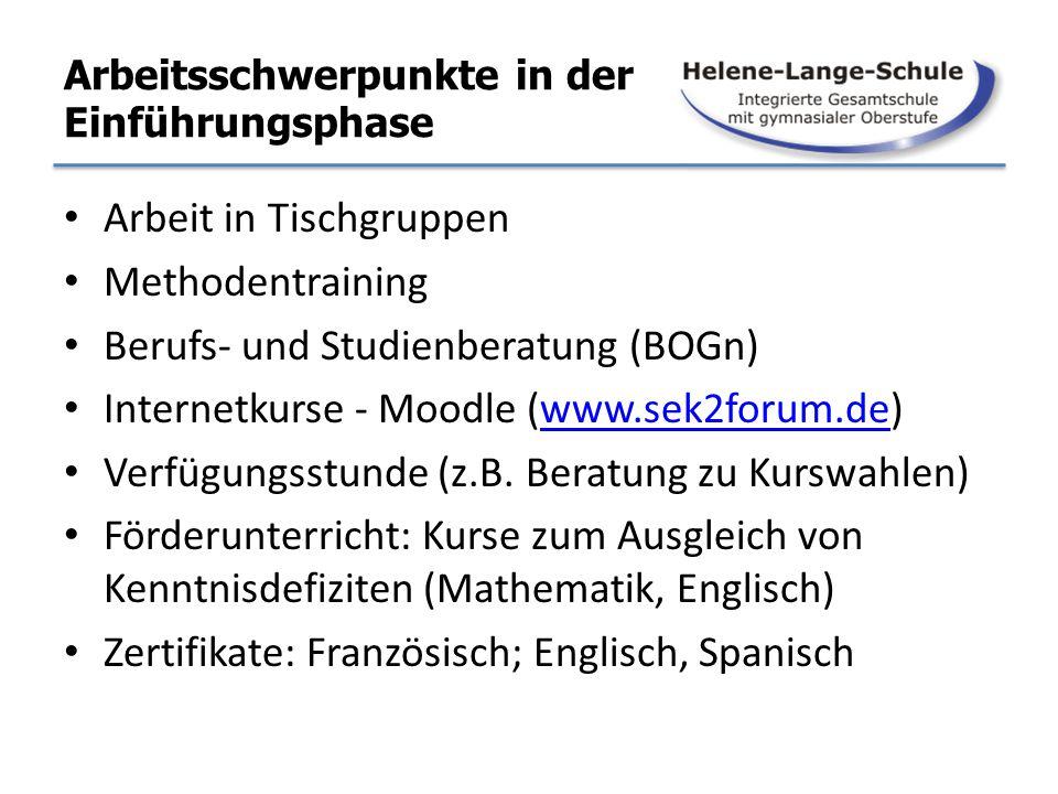 Arbeitsschwerpunkte in der Einführungsphase Arbeit in Tischgruppen Methodentraining Berufs- und Studienberatung (BOGn) Internetkurse - Moodle (www.sek