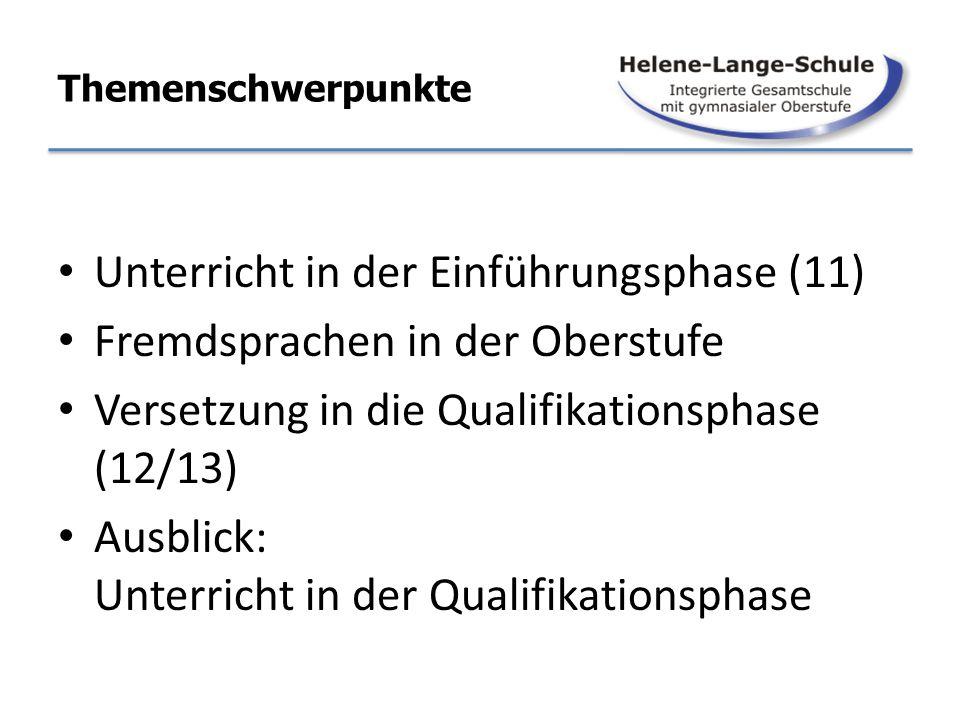 Themenschwerpunkte Unterricht in der Einführungsphase (11) Fremdsprachen in der Oberstufe Versetzung in die Qualifikationsphase (12/13) Ausblick: Unte