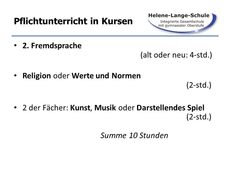 Pflichtunterricht in Kursen 2. Fremdsprache (alt oder neu: 4-std.) Religion oder Werte und Normen (2-std.) 2 der Fächer: Kunst, Musik oder Darstellend