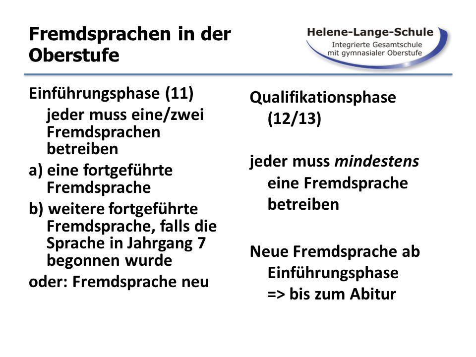 Fremdsprachen in der Oberstufe Einführungsphase (11) jeder muss eine/zwei Fremdsprachen betreiben a) eine fortgeführte Fremdsprache b) weitere fortgef