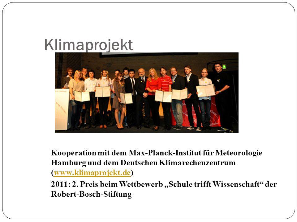 Klimaprojekt Kooperation mit dem Max-Planck-Institut für Meteorologie Hamburg und dem Deutschen Klimarechenzentrum (www.klimaprojekt.de)www.klimaproje