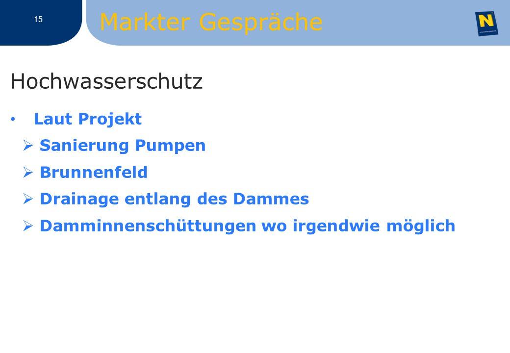 Hochwasserschutz Laut Projekt Sanierung Pumpen Brunnenfeld Drainage entlang des Dammes Damminnenschüttungen wo irgendwie möglich 15 Markter Gespräche