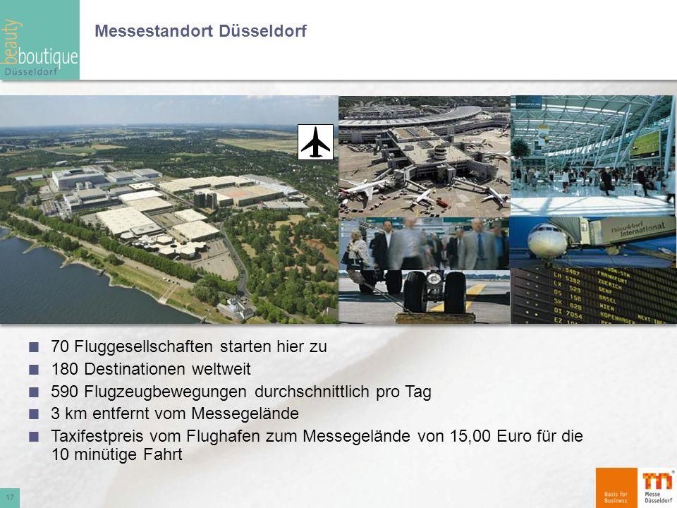 Messestandort Düsseldorf Düsseldorf International Airport 17 70 Fluggesellschaften starten hier zu 180 Destinationen weltweit 590 Flugzeugbewegungen d