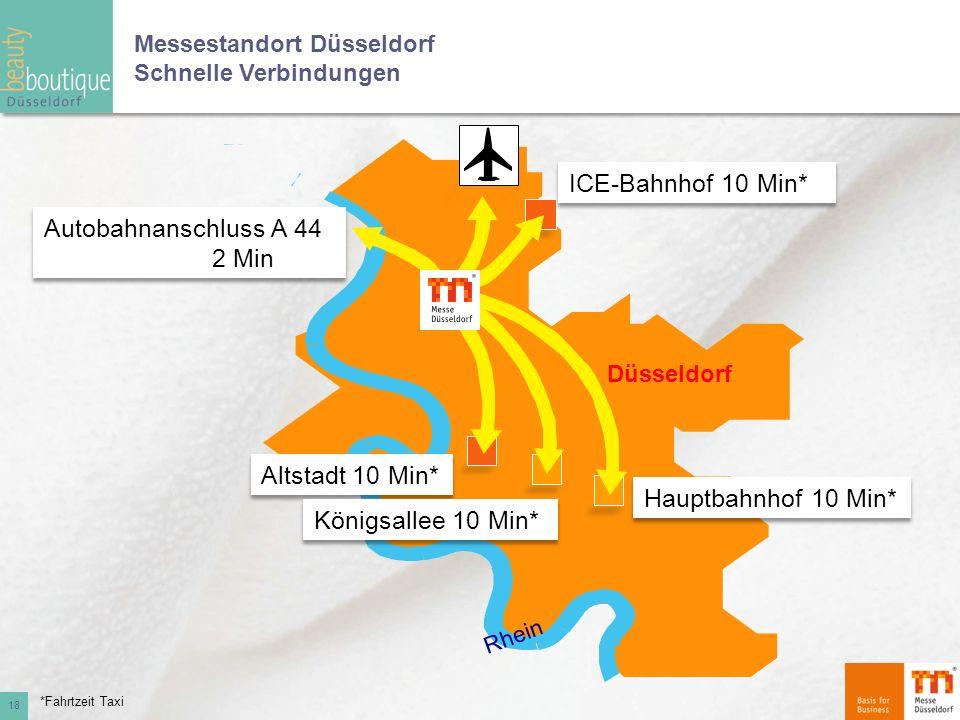 Messestandort Düsseldorf Schnelle Verbindungen 18 *Fahrtzeit Taxi Düsseldorf Rhein Autobahnanschluss A 44 2 Min Altstadt 10 Min* Königsallee 10 Min* H