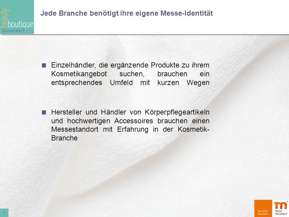 Die Idee: Jährlich im März Eigenständige Messe beautyboutique Fachhandelsmesse Accessoires für Beauty und Bad Düsseldorf Reine Ordermesse für Hersteller und Händler von Körperpflegeinstrumenten, Beauty- und Bad-Accessoires Parallelmessen BEAUTY, TOP HAIR, make-up artist design show 4