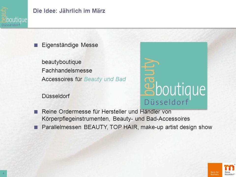 Die Idee: Jährlich im März Eigenständige Messe beautyboutique Fachhandelsmesse Accessoires für Beauty und Bad Düsseldorf Reine Ordermesse für Herstell