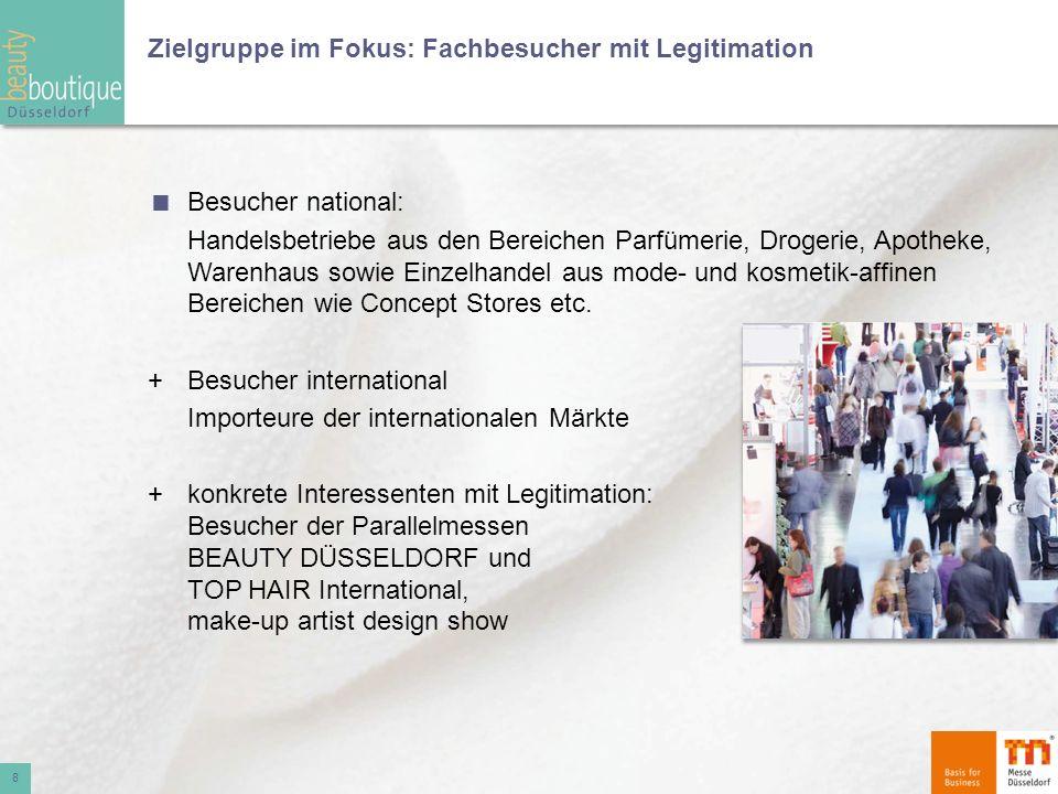 Zielgruppe im Fokus: Fachbesucher mit Legitimation Besucher national: Handelsbetriebe aus den Bereichen Parfümerie, Drogerie, Apotheke, Warenhaus sowi