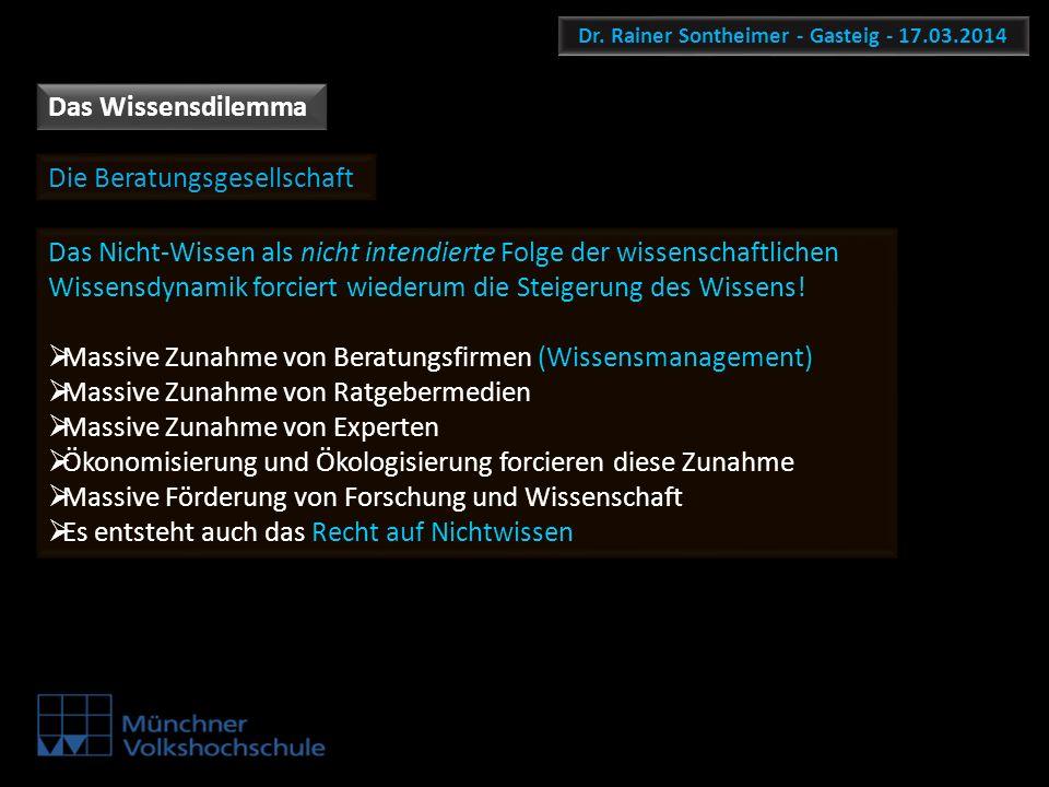Dr. Rainer Sontheimer - Gasteig - 17.03.2014 Das Wissensdilemma Die Beratungsgesellschaft Das Nicht-Wissen als nicht intendierte Folge der wissenschaf