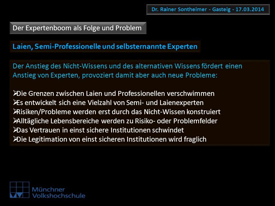 Dr. Rainer Sontheimer - Gasteig - 17.03.2014 Der Expertenboom als Folge und Problem Der Anstieg des Nicht-Wissens und des alternativen Wissens fördert