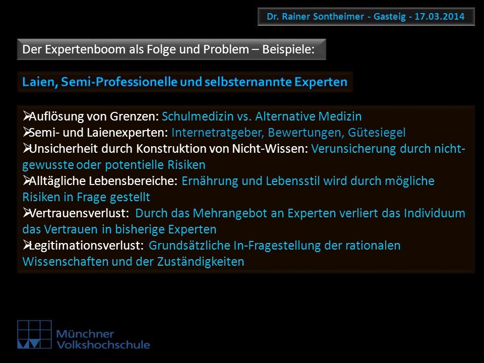 Dr. Rainer Sontheimer - Gasteig - 17.03.2014 Der Expertenboom als Folge und Problem – Beispiele: Auflösung von Grenzen: Schulmedizin vs. Alternative M