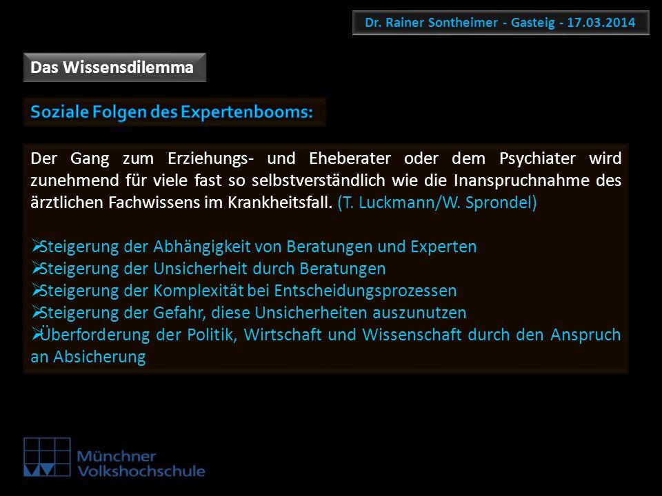 Dr. Rainer Sontheimer - Gasteig - 17.03.2014 Das Wissensdilemma Der Gang zum Erziehungs- und Eheberater oder dem Psychiater wird zunehmend für viele f
