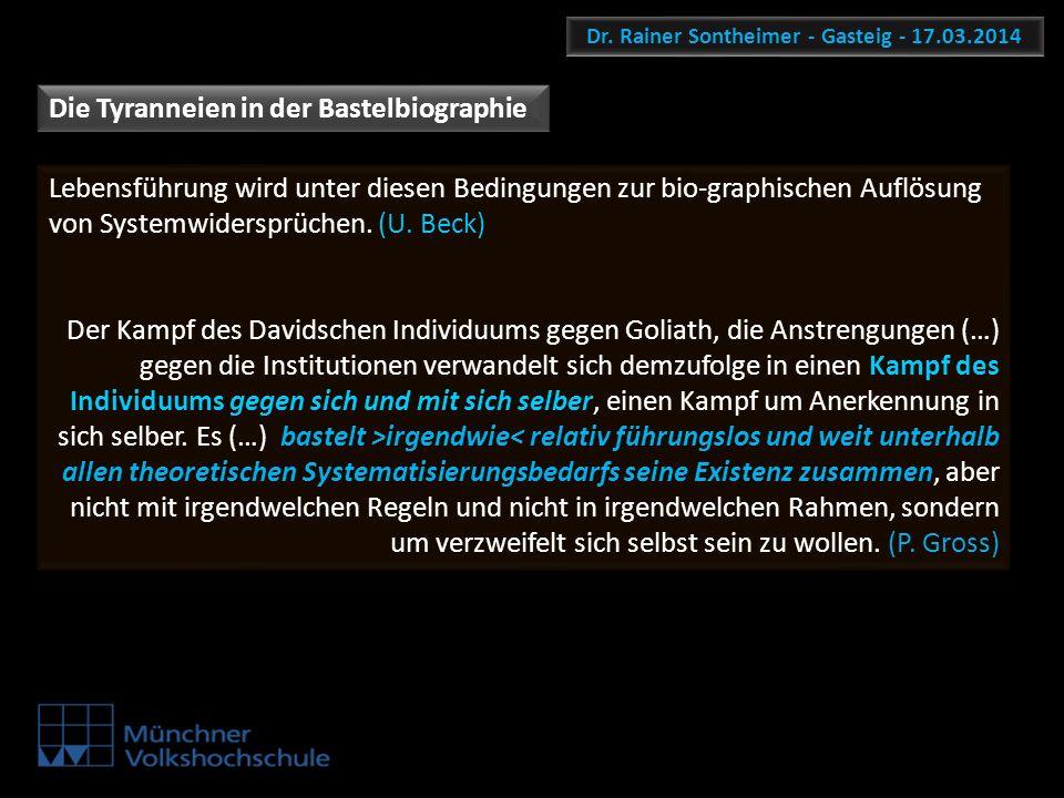Dr. Rainer Sontheimer - Gasteig - 17.03.2014 Lebensführung wird unter diesen Bedingungen zur bio-graphischen Auflösung von Systemwidersprüchen. (U. Be